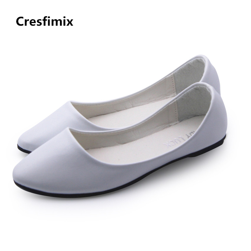 Cresfimix women spring & summer slip on shallow flat shoes sapatos femininos lady cute light weight & comfortable white shoes cresfimix sapatos femininos women casual soft pu leather pointed toe flat shoes lady cute summer slip on flats soft cool shoes