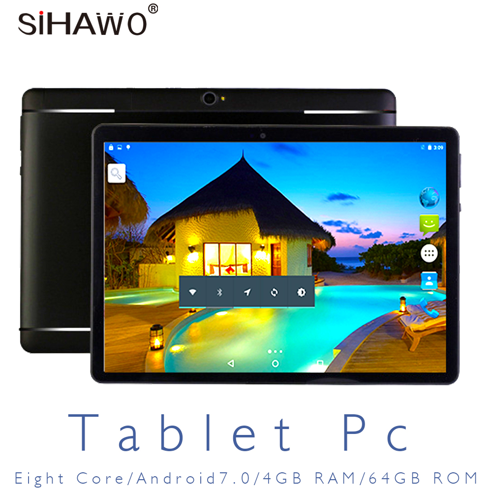 Multi-language 4G Phone Octa Core 4G+64G Tablet Pc Android7.0 AIE 8000mAh 1920x1200 IPS Screen 12MP GPS Bluetooth Tablets 10.1''