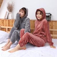 Thicken Ladies Hoodie Shirt+Pants 2PCS Sleepwear Autumn Winter Home Wear Coral Fleece Warm Girl Nightwear Pajama Pijama Set