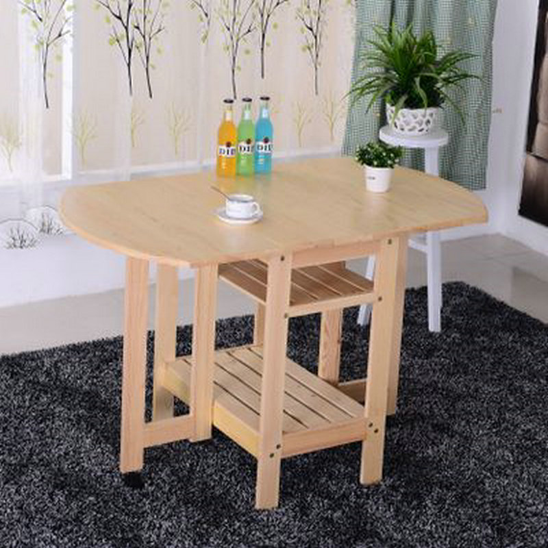 semicircle foldable pine solid wood living room furniture coffee dining table no children lacquer health - Cheap Dining Tables