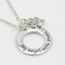 "2015 New arrive ""My angel with paws"" Pet Memorial Necklace Dog Paw Print Tag silver pendant necklace keepsake Wholesale Jewelry(China)"