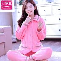 New Winter Couple Pajama Sets Adult Pyjamas Women Female Footed Pajamas Animal Warm Sleepwear Girls Warm