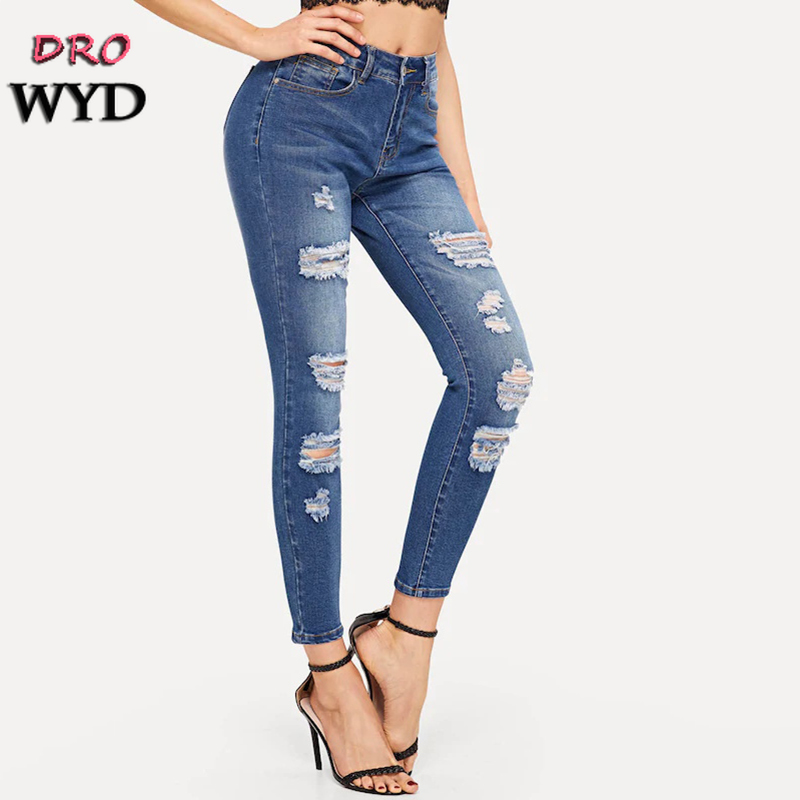 Autumn Blue Hole Ripped   Jeans   for Women New Casual Elastic Streetwear Pencil Denim   Jeans   Trousers Pants Feminino Mujer Plus Size