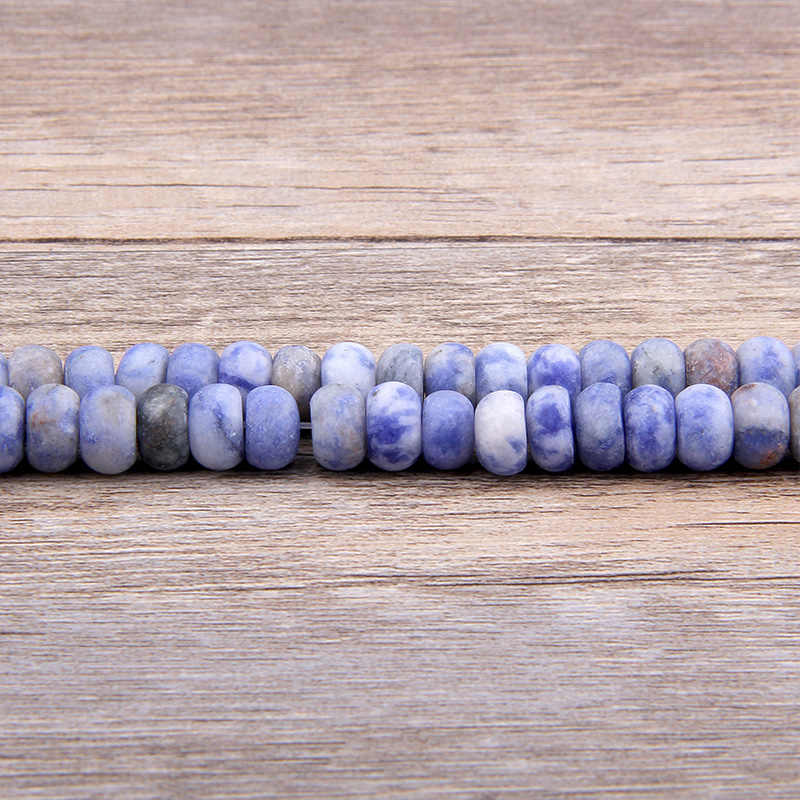 Tự Nhiên Xanh Dương Sodalite Đá Rondelle Bàn Tính Hạt Mờ Rời Không Gian Siêu Tốc Bánh Xe Trống Đá Hạt Trang Sức Làm Tự Làm Vòng Tay