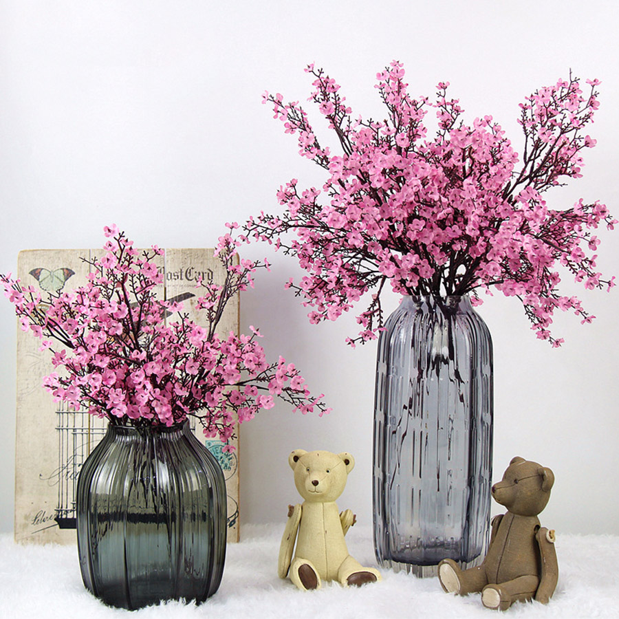 Cherry Blossoms Artificial Flowers Baby's Breath Gypsophila Fake Flowers DIY Wedding Decoration Home Bouquet Faux Flowers Branch(China)