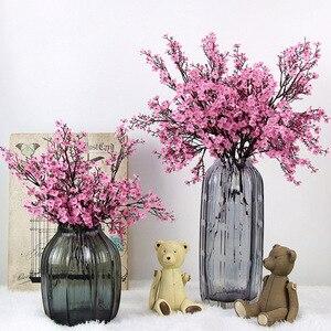 Image 1 - Cherry Blossoms Artificial Flowers Babys Breath Gypsophila Fake Flowers DIY Wedding Decoration Home Bouquet Faux Flowers Branch