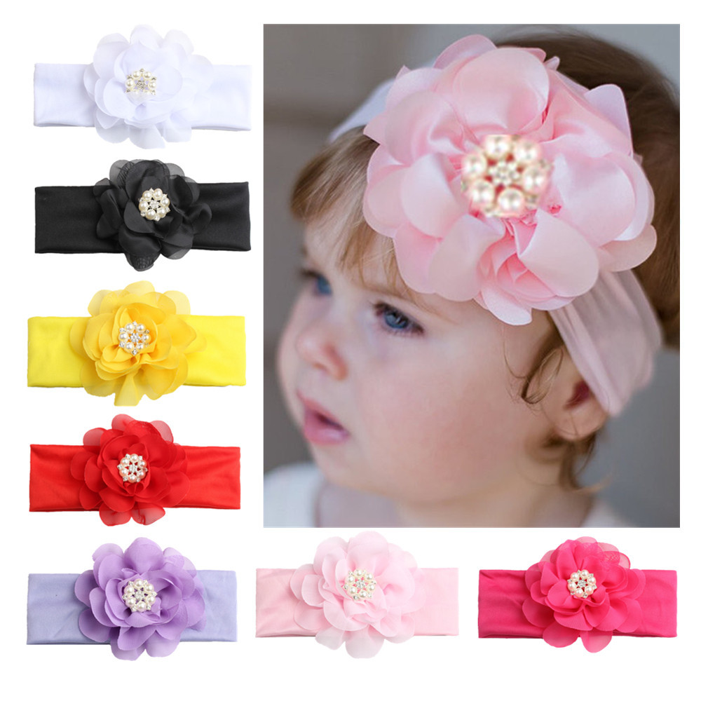 ON SALE 1PCS 2018 New Pearls Flower Headband Kids Girls Elastic Turban Hair Band Hair Accessories Head Wrap bandanas bebe kids lace pearl big flower headband wide band hairband newborn flowers head wrap elastic hair band accessories bandeau bebe