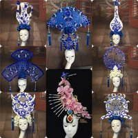 Novelty Art Headdress Festival Dance Carnival Halloween Head Wear Accessories Flower Vase Pageant Headpiece