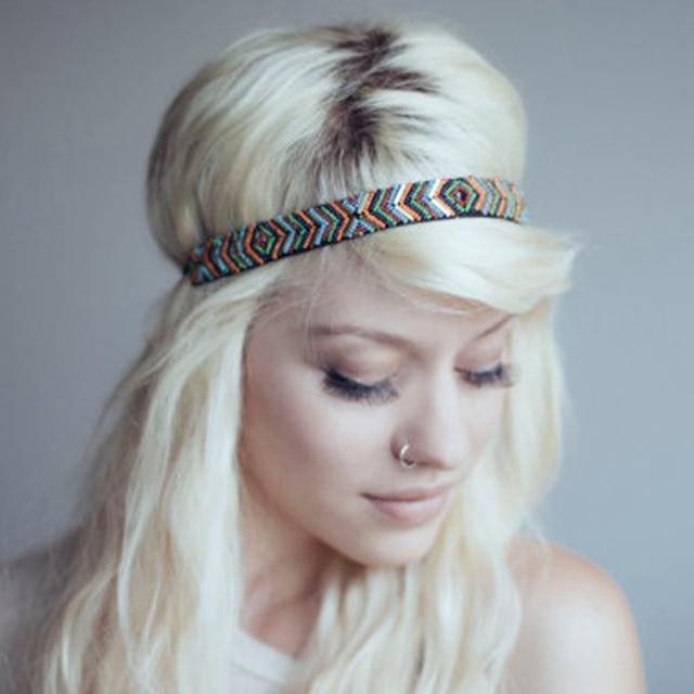 731f464c1af Women Headband Vintage Bohemian Ethnic Hair bands Colorful Rhinestone  Handmade Elastic Headband Hair Accessories