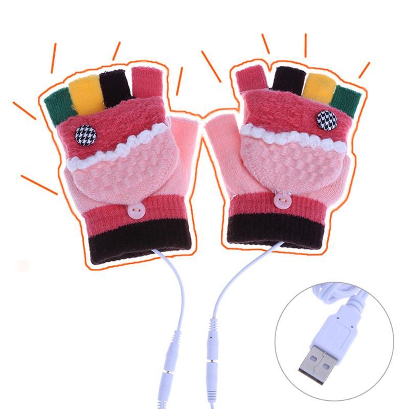 Fashion USB Gloves Women Men Kids 5V USB Powered Female Dual-Sided Heating Electronic Winter Hand Warmer Gloves Washable