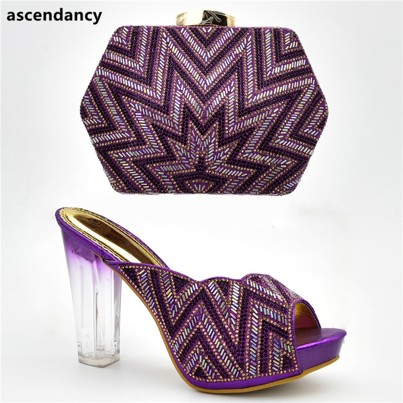Boda Para Último Negro En Imitación Bombas Alto Mujeres De Decorado Verano rojo Y purple Con Zapatos Slip Las Nigerianas oro Bolso Tacón Diamantes azul zrqXSxzw