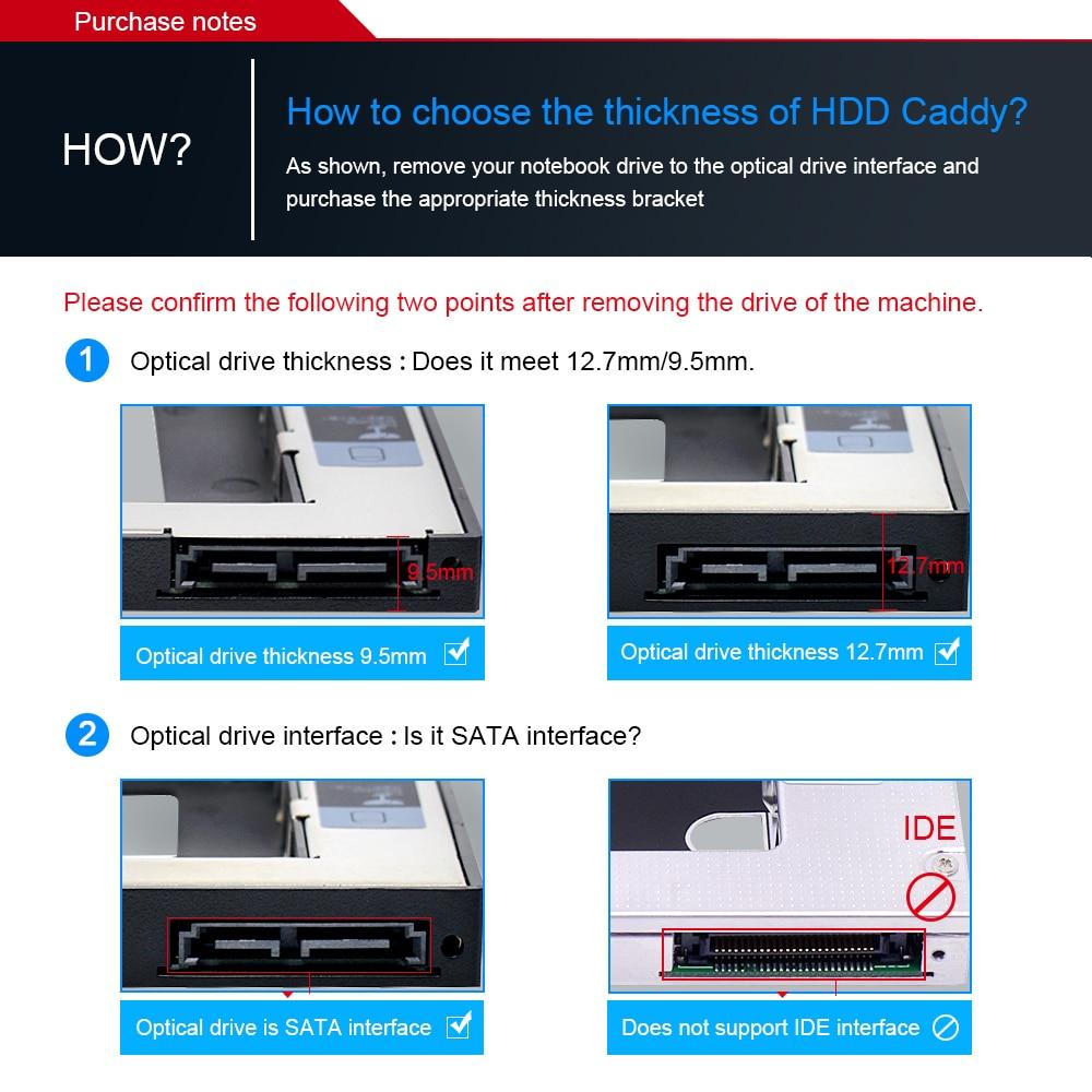 CHIPAL 2nd HDD Caddy 12.7mm Aluminum Optibay SATA 3.0 Hard Disk Drive Box Enclosure DVD Adapter 2.5 SSD 2TB For Laptop CD-ROM