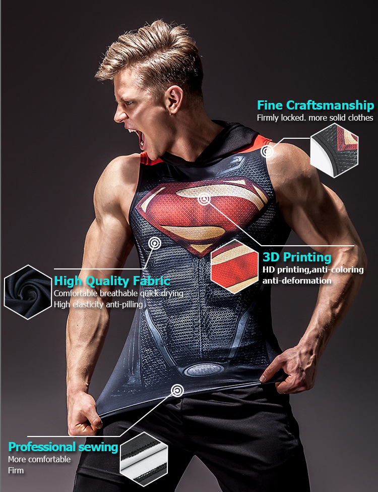 Superhero 3D print Fitness & Bodybuilding Stringer Tank Top For Men