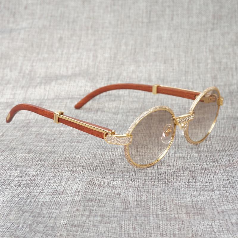 Natürliche Buffalo Horn Sonnenbrille Diamant Holz Gafas Männer Stein Holz Shades Runde Brillen für Outdoor Club Zubehör - 5