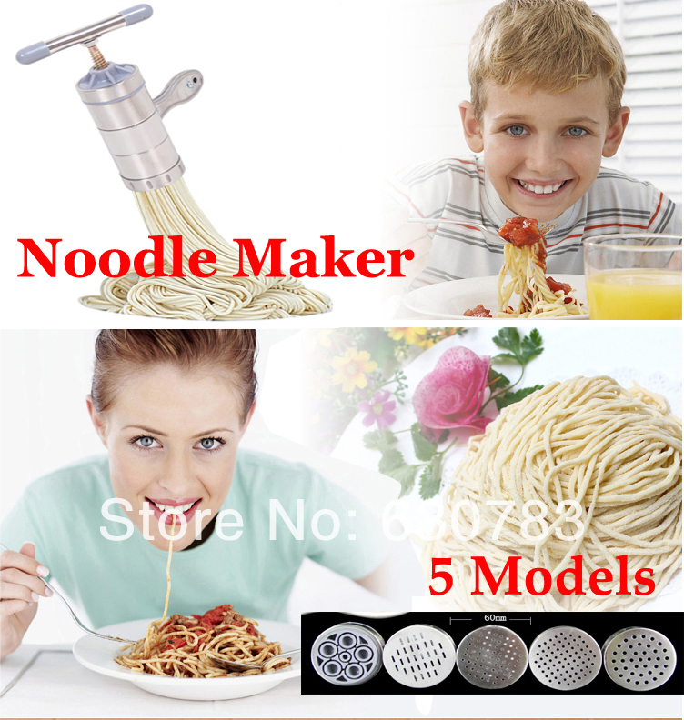 free shipping 1 piece Stainless Steel Noodle Maker With 5 Models Manual...