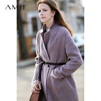 Amii минималистский Albaka Шерсть альпака двусторонний пальто для женщин осень зима 2018 повседневные однотонные женские длинные шерсть