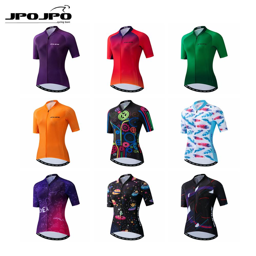 JPOJPO Cycling Jersey Shirt Women Bike Top Pro team Summer Bike Jersey Ropa Ciclismo Short Sleeve MTB Sport Cycling Clothing(China)