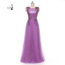 Lila Langes kleid O-ansatz Applizierte mit Blumen Eine Linie Pailletten Plus größe Abendgesellschaft Kleider Bodenlangen Abendkleid Customized
