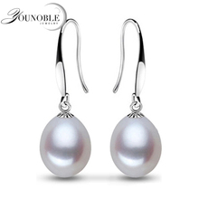 Real natural pearl earrings for women 925 silver jewelry,white freshwater pearl earrings wedding girl birthday gift drop earring