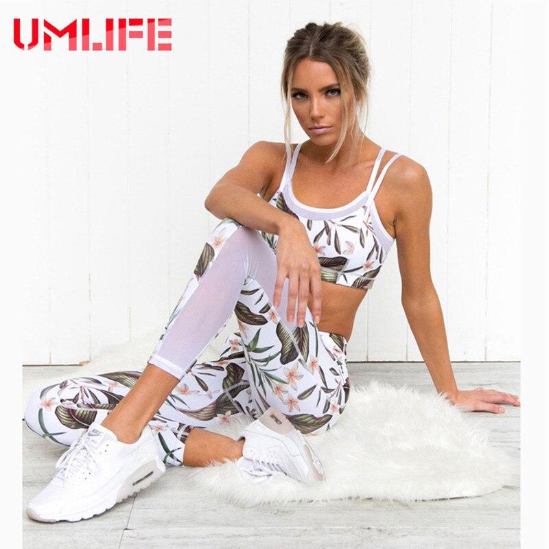 UMLIFE Women Yoga Set Gym Running Sport Suit Floral Printed Tracksuit Fitness Sportswear Bra Leggings Workout Clothes Yoga Sets nicola jane hobbs yoga gym