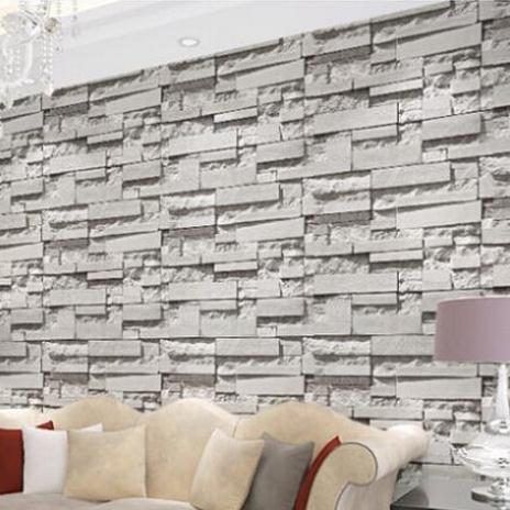 vintage natural stone brick wallpaper grey brick stone 3d effect wall paper rustic vinyl brick. Black Bedroom Furniture Sets. Home Design Ideas