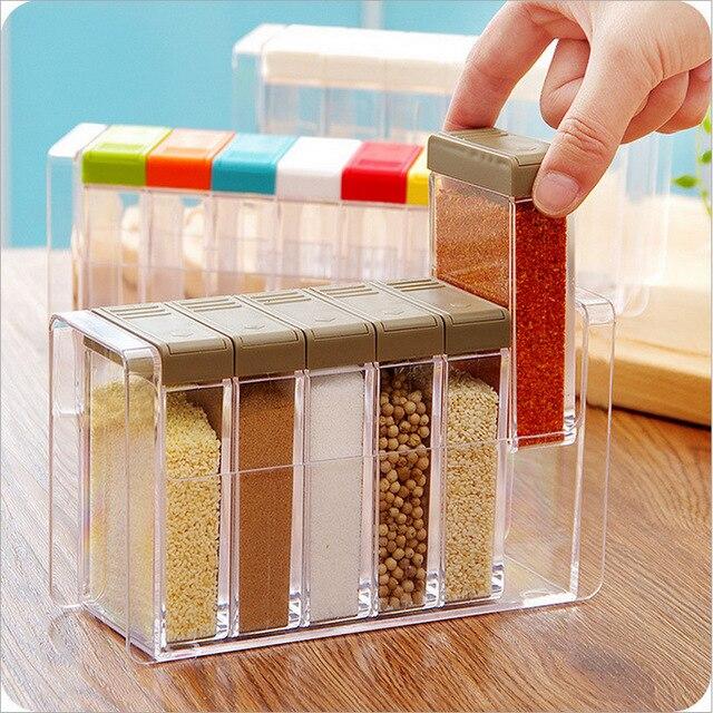1pcs Spice Jar Seasoning Box Kitchen spice rack Spice Storage Bottle Jars Transparent PP Salt Pepper Cumin Powder Box tool