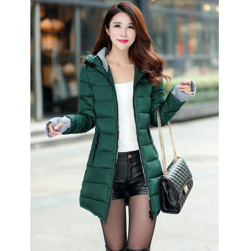 L-3XL 3 Colors Women Hooded Slim Cotton Autumn Winter Medium-long Parka Jacket Overcoats Female Jacket Outerwear Parkas W-2 стоимость