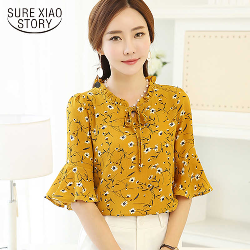 874f23f1686 New 2018 Fashion printing Women Blouses shirt flare sleeve Chiffon Casual women s  clothing Plus Size Tops