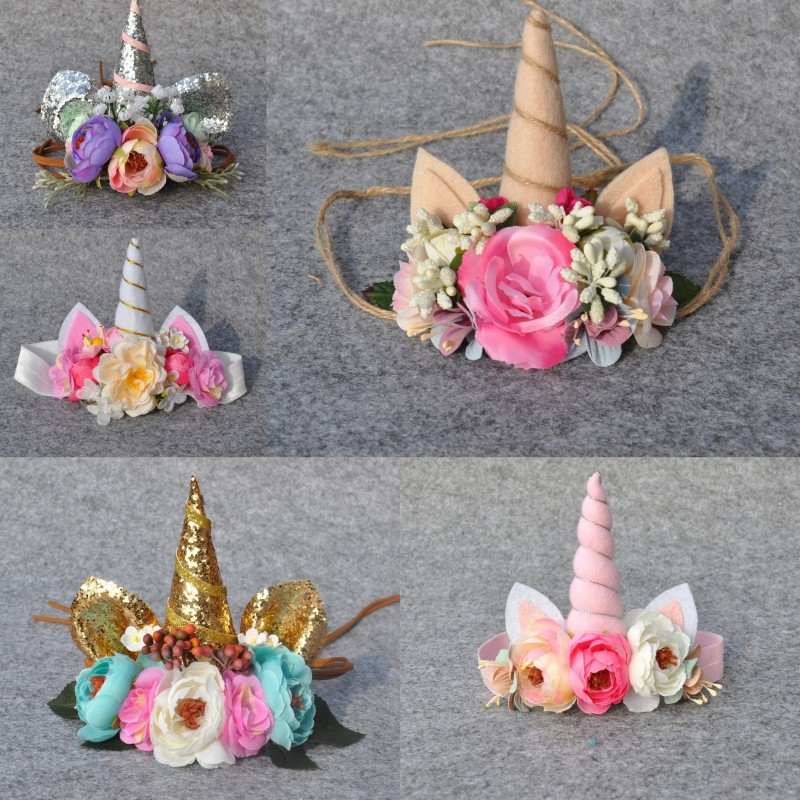 Unicorn Horn Headband Tie Tillbaka Floral Crown Handgjord Flower Headband Photo Prop