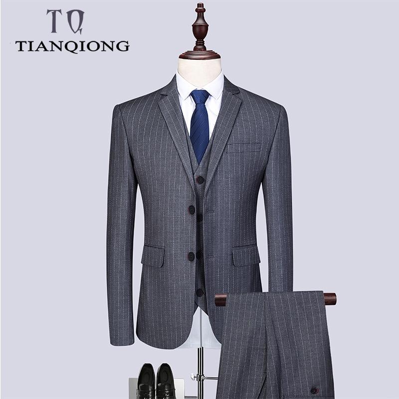 Men Grey Striped Suit Slim Fit Vertical Stripes Suits Blazer Vest Pants For Tuexdos Dress Suits Groom Wedding Jacket Coats M-6XL