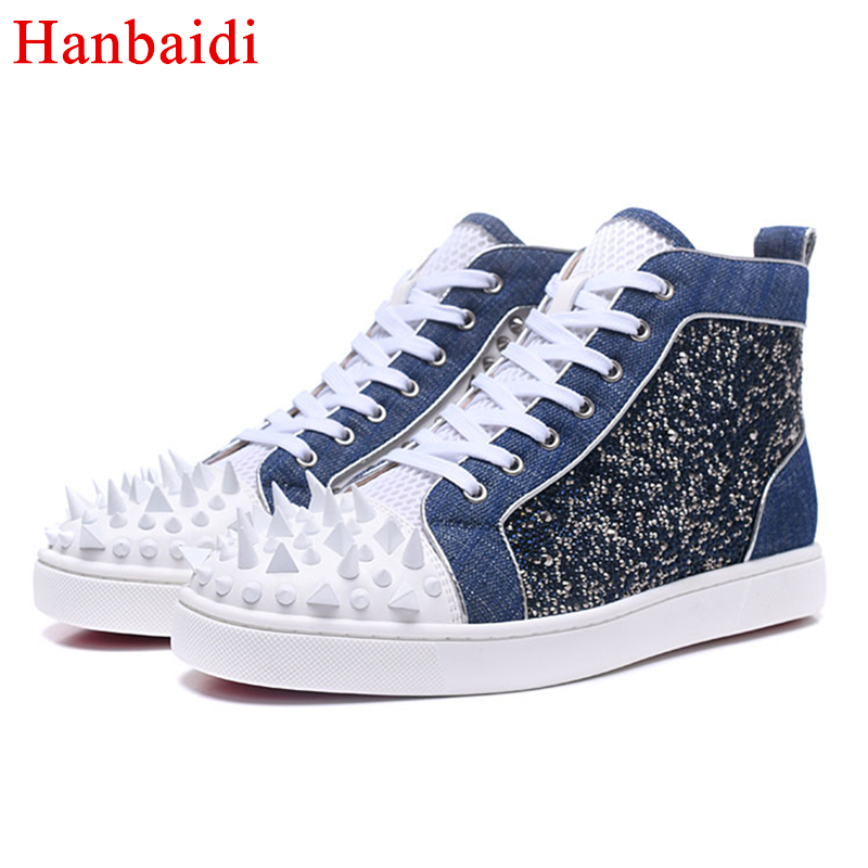 Роскошный Синий змея текстуры на шнуровке Для мужчин разноцветными заклепками обувь модные вечерние красной подошвой кроссовки кожаные бо