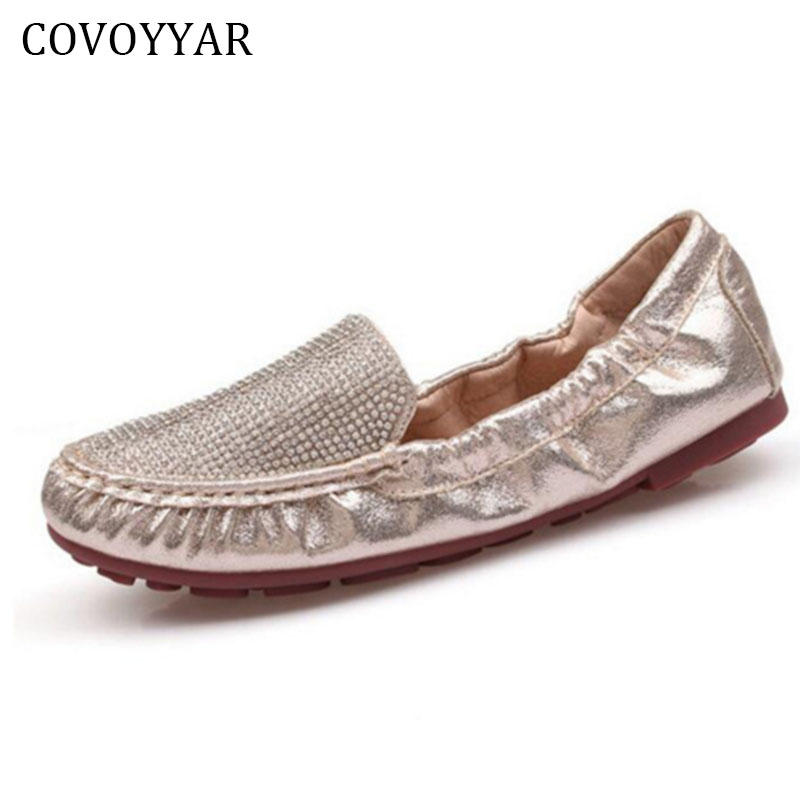 COVOYYAR 2018 Luxury Rhinestone Women Shoes Spring Autumn Fashion Sequin Women Loafers Ballet Flats Lady Fold-able Shoes WFS737 sweet loafers women heels shoes for spring women ballet shoes breathable heels shoes autumn shoes orientpostmark