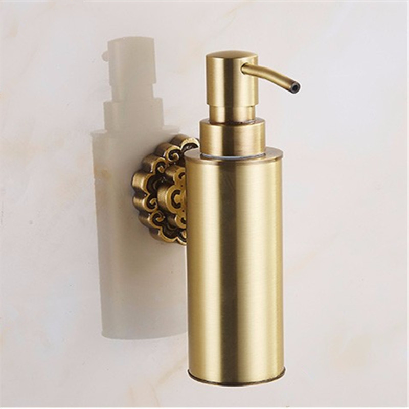 Liquid Soap Dispensers Antique Brass Wall Mounted Shampoo Soap Dispenser Liquid Soap Holder Bathroom Accessories ulgksd bathroom hardware liquid shampoo soap dispenser bathroom ancessories black brass for shower shampoo soap dispenser