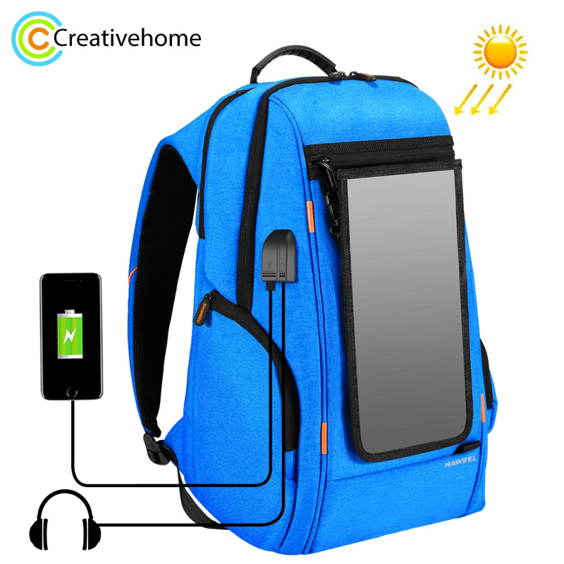 Outdoor Multi function Solar Panel Power Casual Backpack Laptop Bag with Handle External USB Charging Port