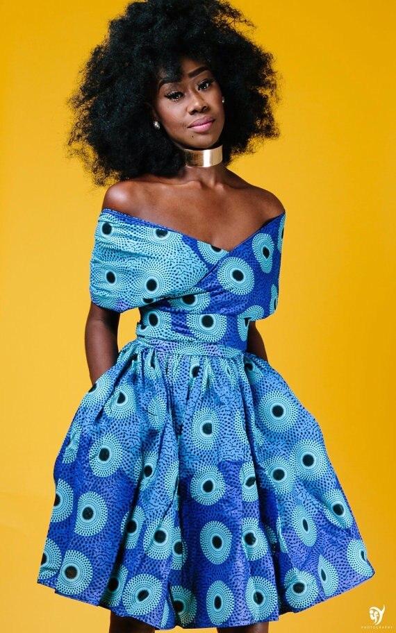 2019 African Dresses For Women Dashiki Peacock Digital Printing Sexy Multifunctional Wearing Dresses