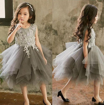 Custom Made Knee Length Princess Dress with Lace Appliques Tulle Flower Girl Dress For Special Occasion Newest Formal Wears