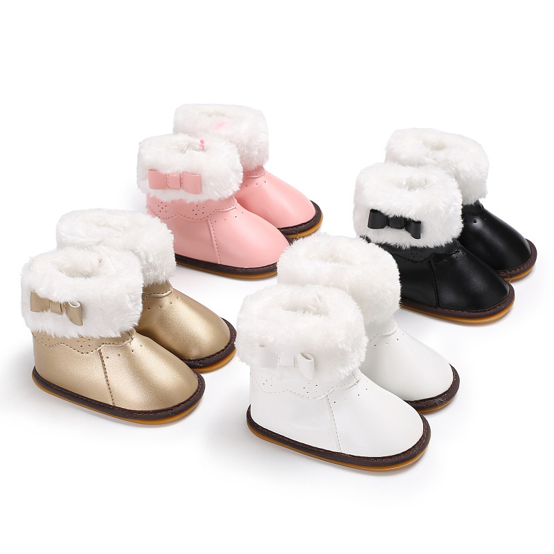 Spring And Autumn 0-1 Years Old Female Baby Rubber Bottom Plus Cotton Warm Snow Boots Baby Shoes Toddler Shoes