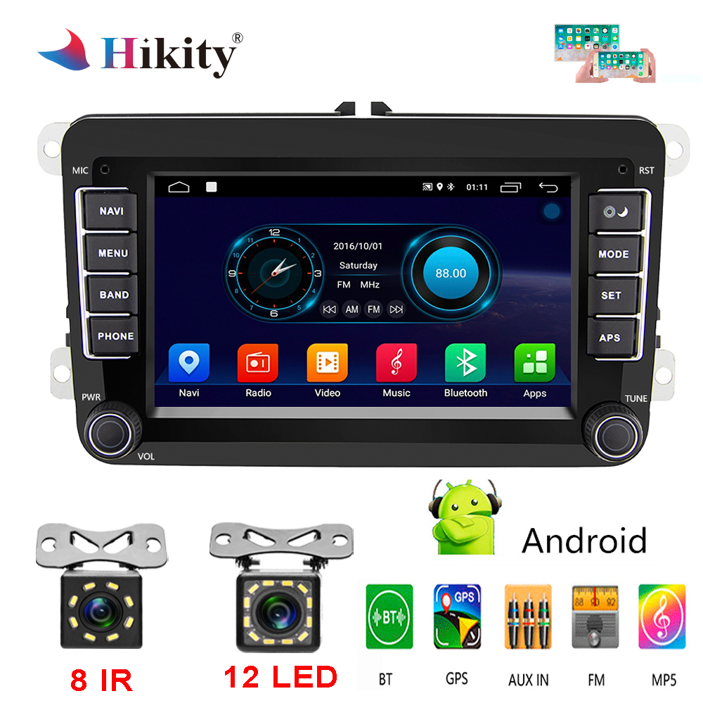 Hikity 2 Din 7'' Car Stereo Android GPS Navigation Bluetooth Radio IPOD FM RDS Map for Volkswagen/Passat/POLO/GOLF/Skoda/Seat