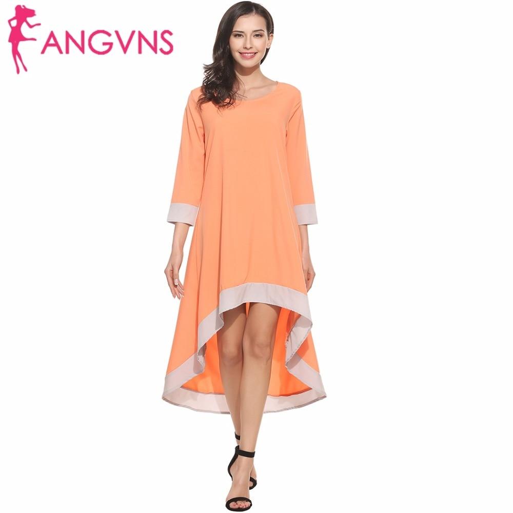 ANGVNS Spring Summer Dress Women 2018 Casual 3/4 Sleeve Lady Beach Asymmetrical Plus Size Loose Long Dress Tunic S-XXL de festa