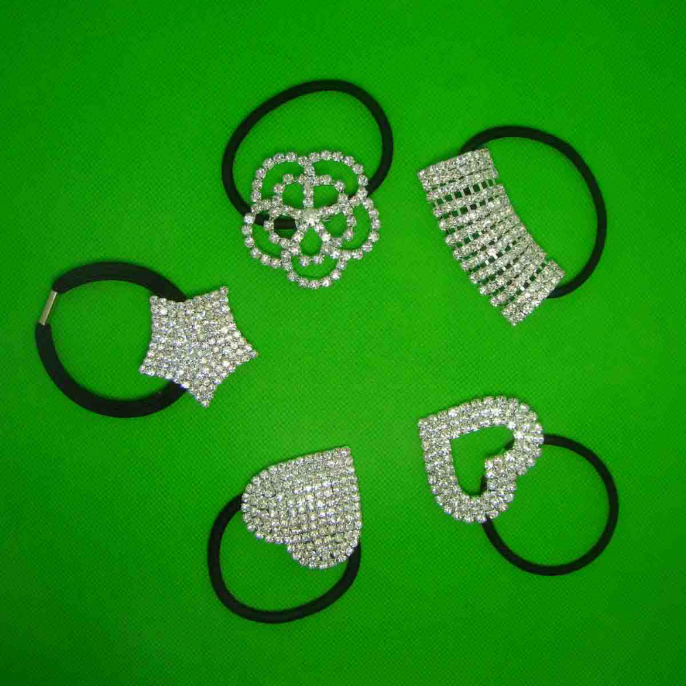 Wholesale silver rhinestone 50x25mm arched charm hair ponytail holder band  jewelry with quality elastic band 3pcsx -in Hair Jewelry from Jewelry ... 9374208cc857