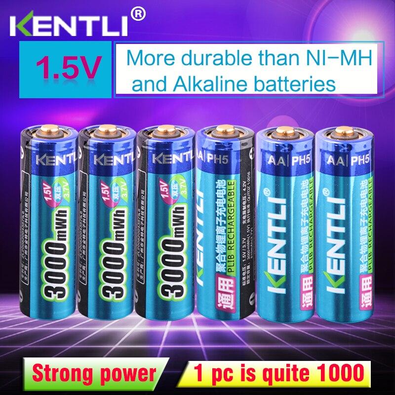 KENTLI 6 pcs/pack Haute Capacité livraison gratuite au lithium ion batteries 3000mWh 1.5 V lithium polymère batterie rechargeable AA batterie
