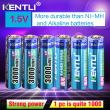 KENTLI 6pcs/pack High Capacity free shipping lithium ion batteries 3000mWh 1.5V lithium polymer battery rechargeable AA battery стоимость