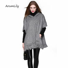 2017 New Black Cloak Poncho Women Sweaters hooded Argyle Coat Big Shawl Pullovers Loose Batwing Knitwear