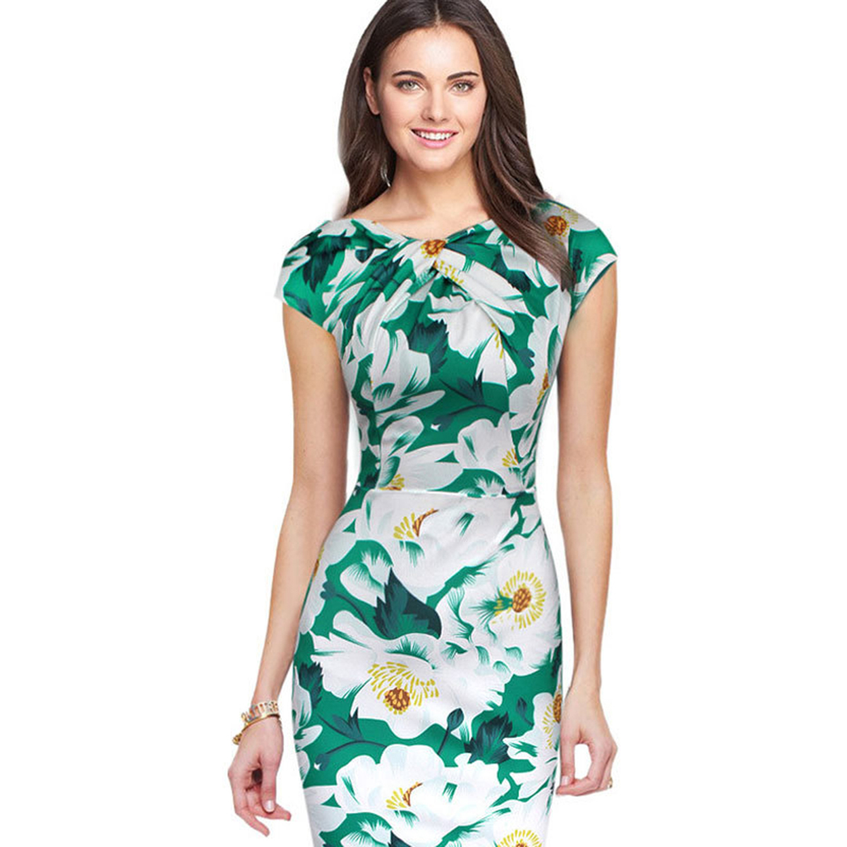 Summer Formal Women Pencil Dress Short Sleeve Floral Midi Dress Slim ...