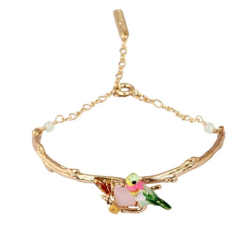 Колибри gem браслет браслеты для женщин Эмаль глазури прекрасный с птицами леди