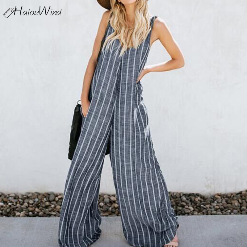 2019 Summer Oversized Loose Work OL Wide Leg Pants   Jumpsuits   Women Sexy Plus Size V Neck Striped Sleeveless Overalls Rompers Set