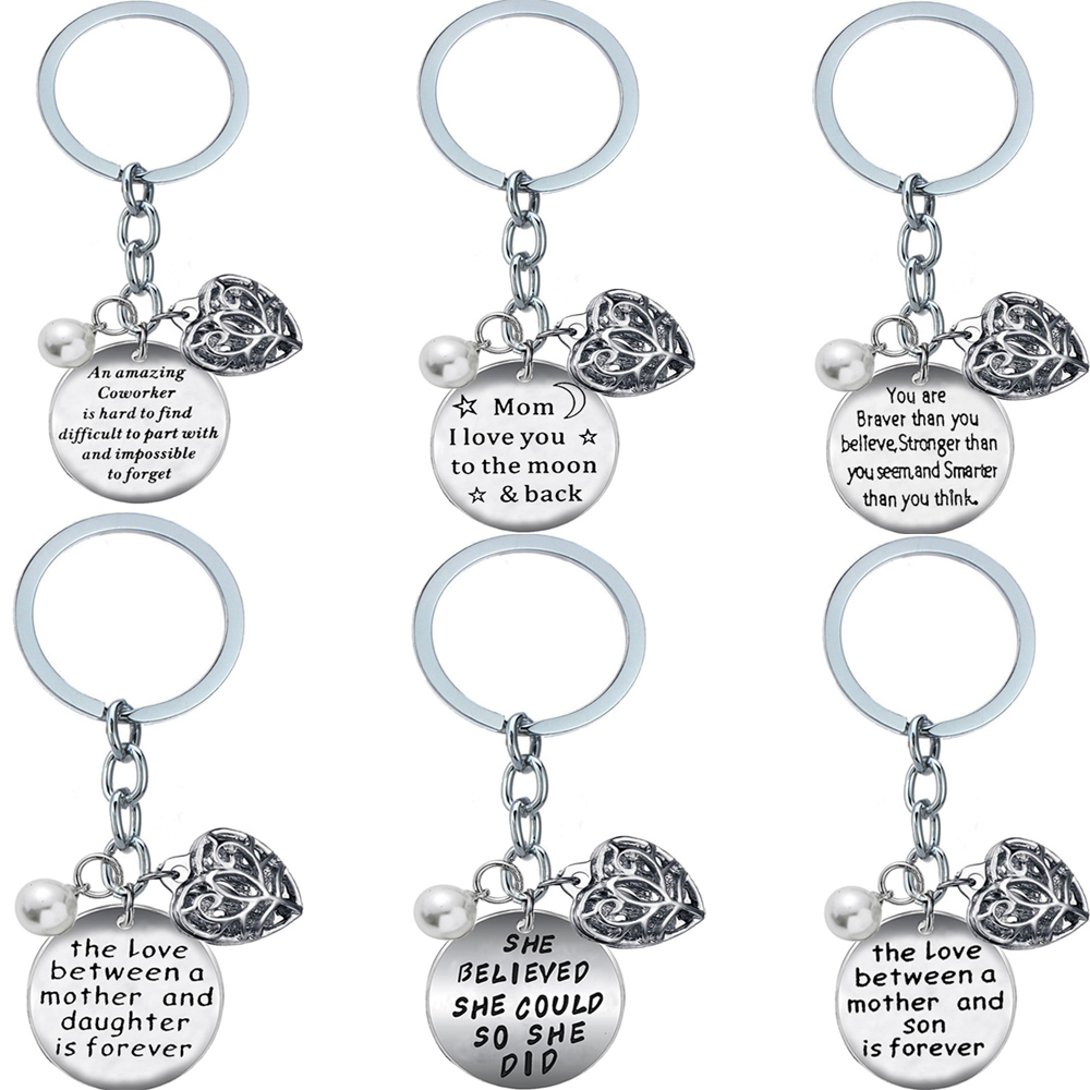 Love you to the moon family names key ring