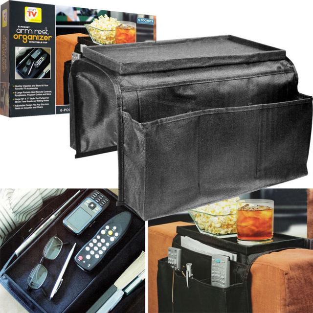 6 Pockets Arm Rest Armrest Organizer Organiser Couch Chair Tv Remote Magazine Holder Tray Bag Storage