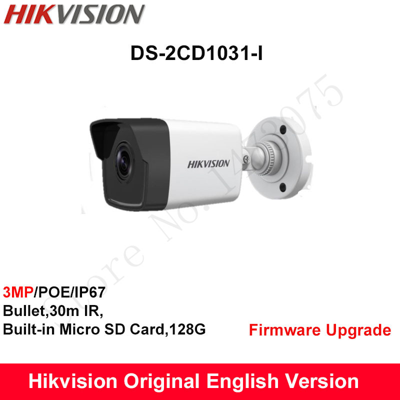 Hikvision Original English Security Camera DS-2CD1031-I replace DS-2CD2035-I 3MP IP Bullet CCTV camera POE IP67 30m IR H.264+