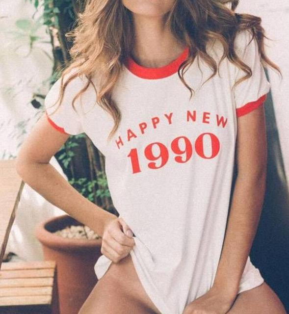 HAPPY NEW 1990 Red Letter Printed T Shirt Fashion Tumblr